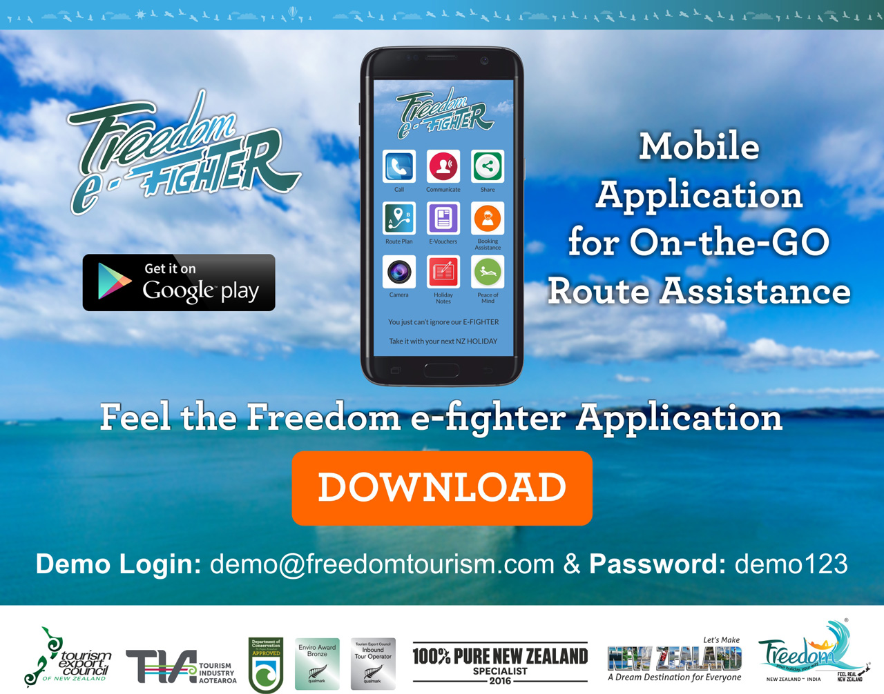 Freedom e-fighter mobile application for the guest